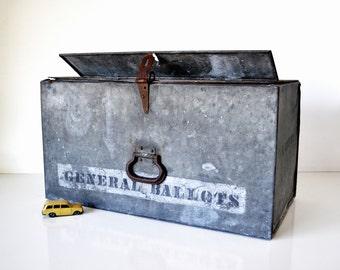 Large Vintage Metal Ballot Box  L.A. County
