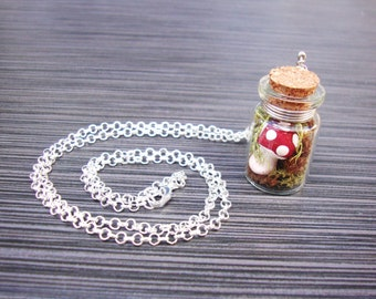 Whimsical clay mushroom with real moss in jar necklace