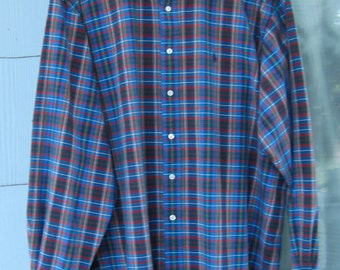 Vintage 80's Long Sleeve Plaid Shirt ~ Ralph Lauren ~ Big Men's XXL