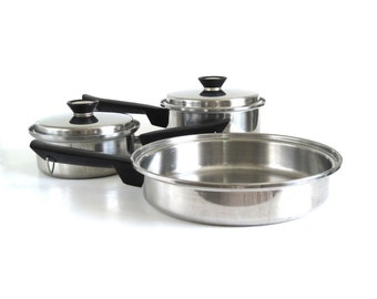 Duncan Hines Pots Pans Skillet Cookware 3 ply Stainless Steel Regal Ware