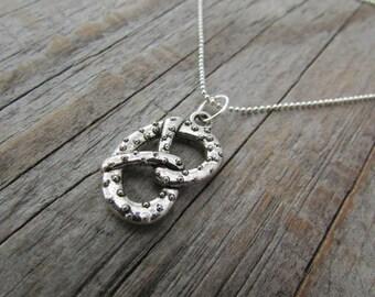 Pretzel Necklace, little silver pretzel pendant