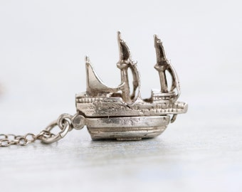 Tiny Galleon Ship Necklace - Sterling Silver Pendant on chain - Antique Miniature Pendant on Chain - Nautical Jewelry