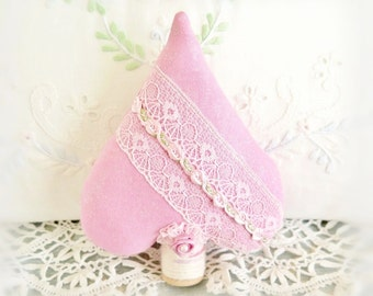 "Fabric Tree Ornament /  Tree Heart / 5"" Tree Ornament / Pink Free Standing Tree /  Mothers Day Gift /  Decoration Home Decor CharlotteStyle"