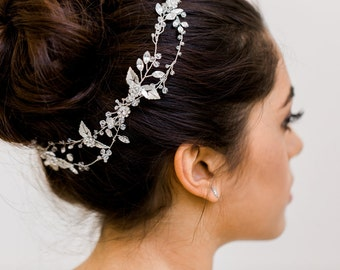 Boho halo, Crystal Halo, Beaded Halo, Floral Halo, Crystal Hair Vine, Boho Hair Vine, Whimsical Hair Vine, Bridal Head Piece, Bridal halo