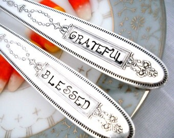 Stamped Spoons - THANKFUL GRATEFUL- Thanksgiving Decor -  Serving Spoons - Grosvenor 1921