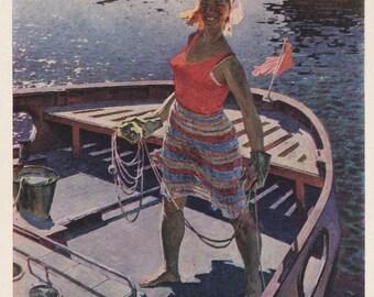 "Y. Bosco ""Native Girl of the Volga region"" Postcard -- 1969"