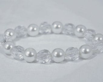 Clear and Faux Pearl Plastic Bead Fashion Stretch Bracelet