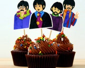 The Beatles Cupcake Toppers print cut and make your own DIY instant download party decor