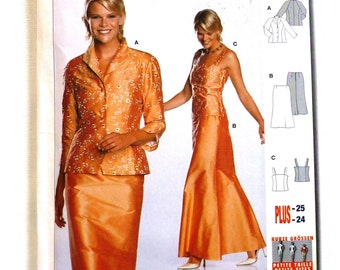 Burda 8374 sewing pattern, UNCUT, sizes 10- 24, evening wear, formal, wedding, mother of the bride, skirt, jacket, top camisole