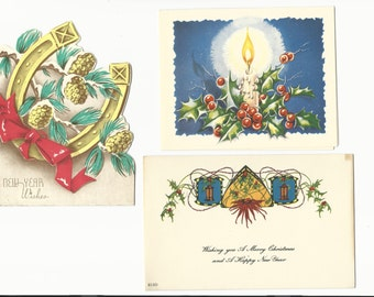 Vintage Christmas Cards Happy New Years, Set of 3, Holiday Card