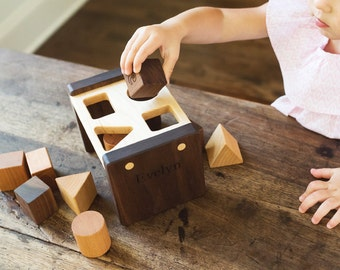 shape sorter - a personalized wooden shape sorting toy with four unique shapes - an heirloom gift for baby and first birthday
