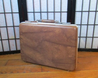 Vintage Brown Briefcase by American Tourister 1960s 1970s Hardshell Attache Carrying Case Filing
