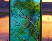 dadivahats Custom • Stained Glass Window Panel Wave Tree Moonlight