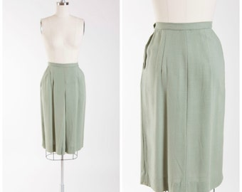 50s Vintage Pencil Skirt Sage Green Rayon Linen Vintage 1950s Skirt with Pockets Size Small