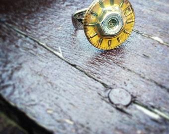 Steampunk Silver Hex Nut Ring