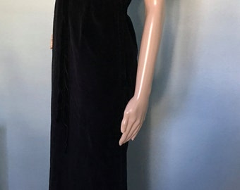 1960s Black Velvet Full Length Gown