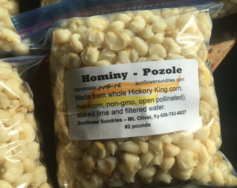 Hominy, made with Hickory King corn. 1.5 pound package, frozen.