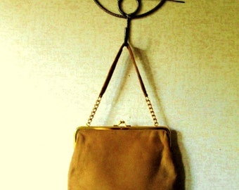 ginger gold suede handbag with chain handle, vintage 60s 70s