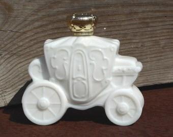 Avon Milk Glass Carriage Bottle, Avon Carriage White Glass