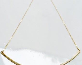 Golden Arc Necklace Gold Bar Necklace Thick Bar Necklace Simple Gold Necklace Matte Gold Necklace