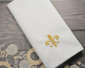 Fleur De Lis Embroidered Cloth Dinner Napkins /Set of 4/ Fleur De Lis napkins, party napkins, mardi gras napkins, mardi gras party