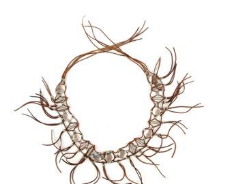 Vintage 1970's Brown Leather Suede Fringe Tassel Hippie Festival Silver Medallion Waist Hip Tie Belt