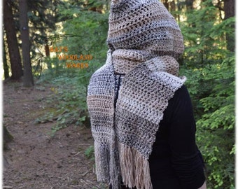 Hooded Scarf - Sand Dunes - Crocheted Woodland Pixie Scarf