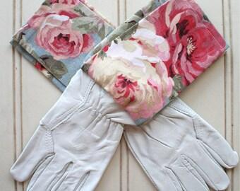 "Washable leather gardening gloves in ""Blush Pastel Rose"""