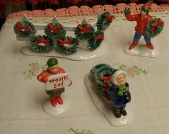 Snow Village Wreaths For Sale Vintage Accessory 4pc Set