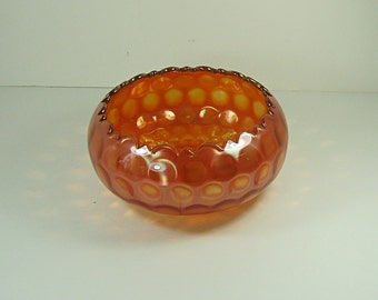 Antique FENTON COiN DOT Rose BOWL Marigold Iridescent CARNiVAL Vase