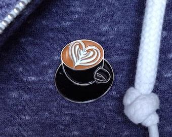 Latte Art Heart Lapel Pin