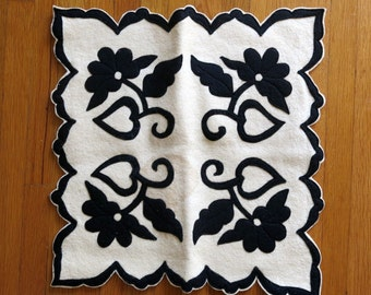 Black & White Floral Felt Appliqué Pillow Case