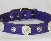 """Purple Leather Dog Collar with Jewels, Fancy Leather Dog Collar, Large Leather Dog Collar, Poodle Collar,  17"""" - 19"""" neck or custom"""