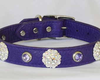 "Purple Leather Dog Collar, with Jewels, Fancy Leather Dog Collar, Large Leather Dog Collar, Poodle Collar, 20- 24"" inches"