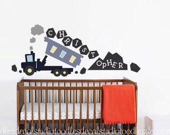 Boys Construction Wall Decor / Truck wall decal with name / Nursery fabric wall decals