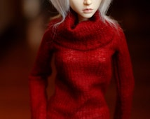 Super Gem Red Cowl Neck Sweater For SD BJD