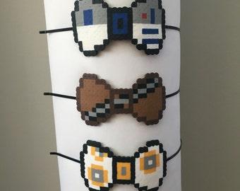 8-bit Star Wars R2D2, Chewbacca, BB-8 Character Pixel Art Bow Headbands, Barrette or Bow Tie Pins