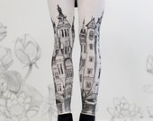 pants - leggings Victorian City leggings by Carousel Ink  - stockings tights - carousel ink XLARGE
