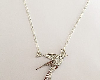 Dainty Bird Necklace - Swallow Necklace - Silver Bird Necklace - Bird Jewellery -