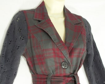Red & Gray Plaid Jacket with Sweater Sleeves - Altered Upcycled Clothing - Small