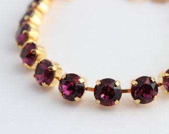 Swarovski Amethyst bracelet, Swarovski bracelet, purple bracelet, Rhinestone bracelet, bridesmaid bracelet, amethyst and gold bracelet SA01