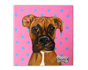 Custom Dog Portrait / Custom Pet Portrait - 1 Pet - Close-UpPolka Dot background (10x10x0.75inch) Boxer Sample