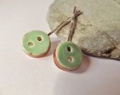 Ceramic Pottery Button Hair Clip Set, Hair Grip Set, Bobby Pin Set, Green Brown, Ceramic Accessories, Mint Green Accessories, Spring Colours