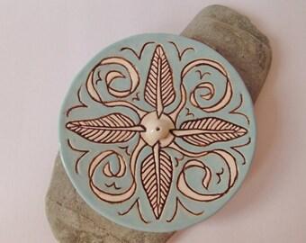 Ceramic Pottery Feather Incense Stick Holder, Incense Burner, Joss Stick Holder, Air Element, Art Tile Incense Holder, Meditation, Yoga