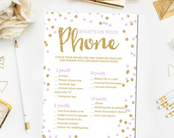Bridal Shower Games, What's on Your Phone Game, Bridal Shower Games Glitter Confetti Lavender Purple Gold Printable Instant Download BR3
