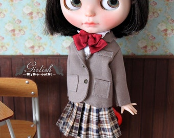 Girlish - Light Brown School Uniform outfit set for Blythe doll - dress / outfit
