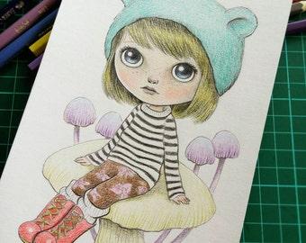 Blythe Doll Inspired Illustration, Cute Kawaii Doll Art, Original Pencil Drawing of Blythe Doll