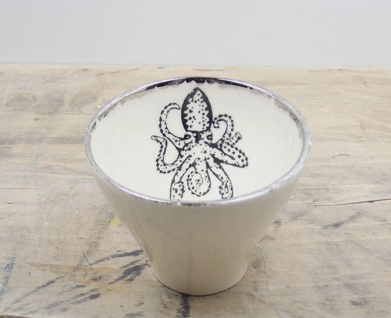 Octopus White & Silver Porcelain 5oz. Small Tea Cup, Tea Bowl, Saki Cup