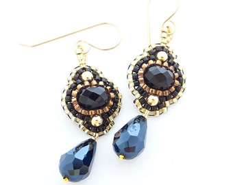 Black and Gold Earrings, Flower Dangle Earrings, Black Earrings, Teardrop Earrings, Black Flower Earrings, OOAK