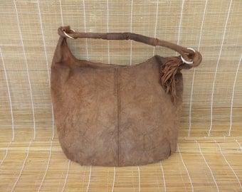 Vintage Aged Lady's Brown Beige Suede Zip Up Top Hand Bag Hobo Purse